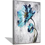 Blue Flower Canvas Wall Art: Abstract Floral Artwork with Artist Hand Painted Gold Foils Painting Picture Framed for Wall (24