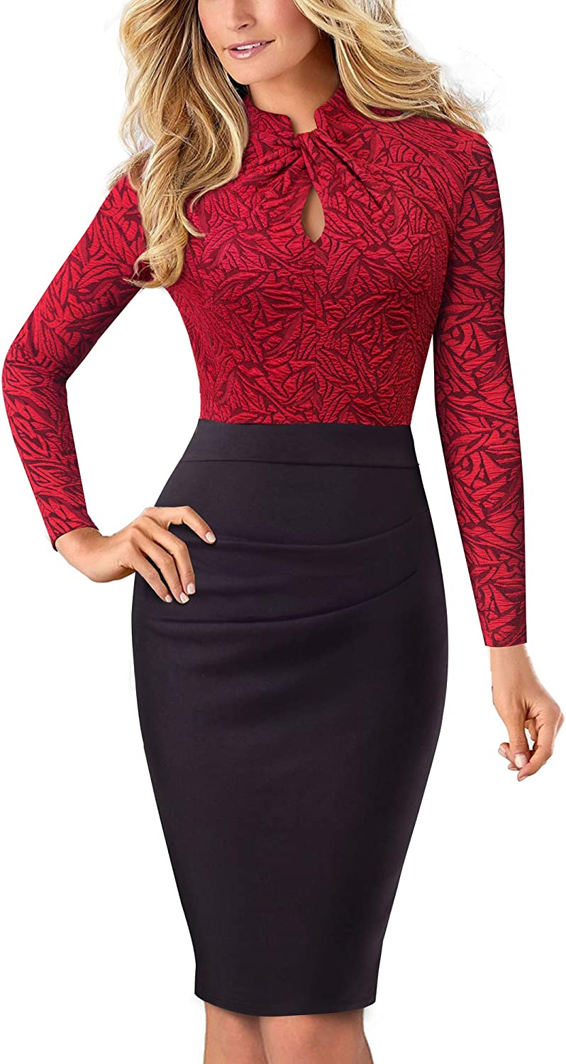 HOMEYEE Donna Vintage Colletto Stand Manica Corta Bodycon Business Vestiti a Matita B430