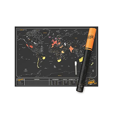 Luckies of london scratch map chalk edition personalised world map luckies of london scratch map chalk edition personalised world map poster with chalkboard pen gumiabroncs Image collections