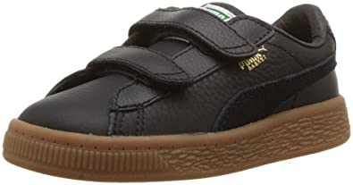 4d10be520fc PUMA Baby Basket Classic Gum Deluxe Velcro Sneaker Black