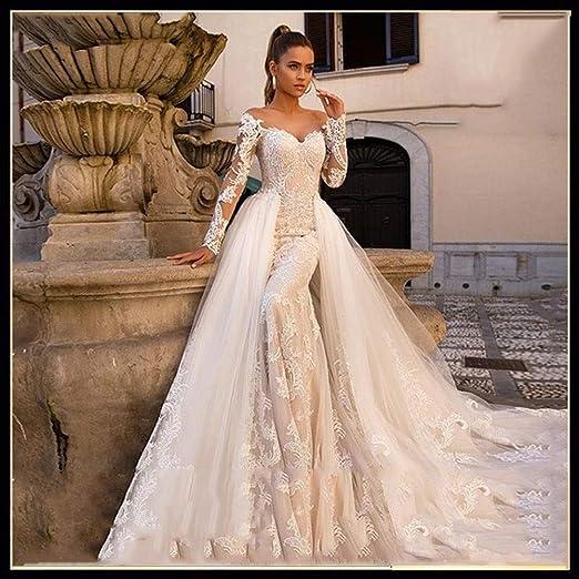 Vestido de novia Vestido de novia de manga larga atractiva de la ...
