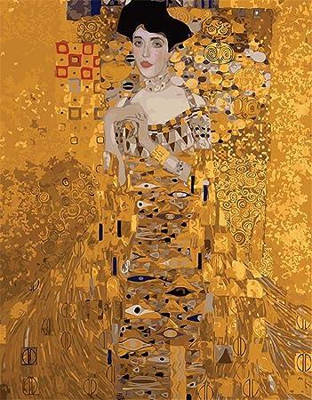 Captaincrafts Malen Nach Zahlen 16x20 Für Erwachsene Anfänger Kinder Kinder Leinwand Klimt Adele Porträts Goldfarbe Mit Rahmen