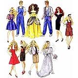McCall's 6317 Vintage 90s Sewing Pattern Fashion Dolls like Barbie & Ken