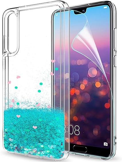 LeYi Custodia Huawei P20 PRO Glitter Cover con HD Pellicola,Brillantini Trasparente Silicone Gel Liquido Sabbie Mobili Bumper TPU Case per Huawei P20 ...