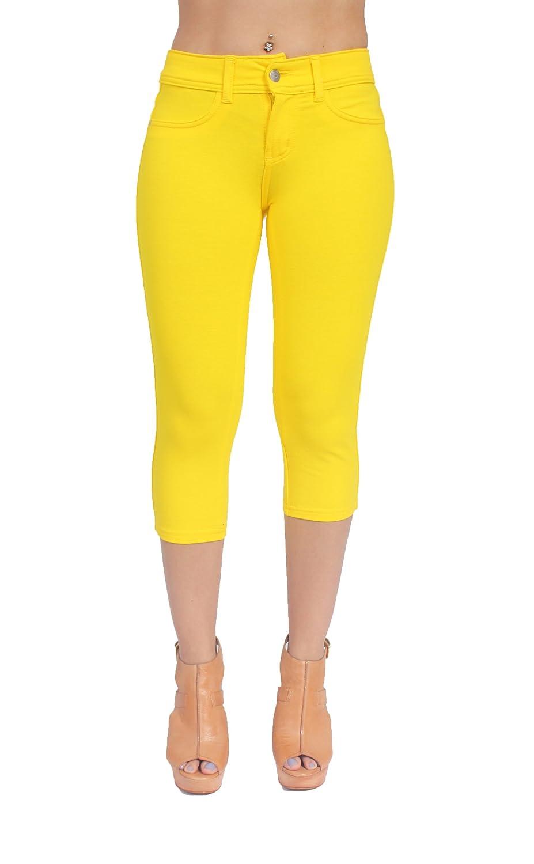 Basic Brazilian Cut Sexy French Terry Moleton Capri in Yellow Color JW -212YELW