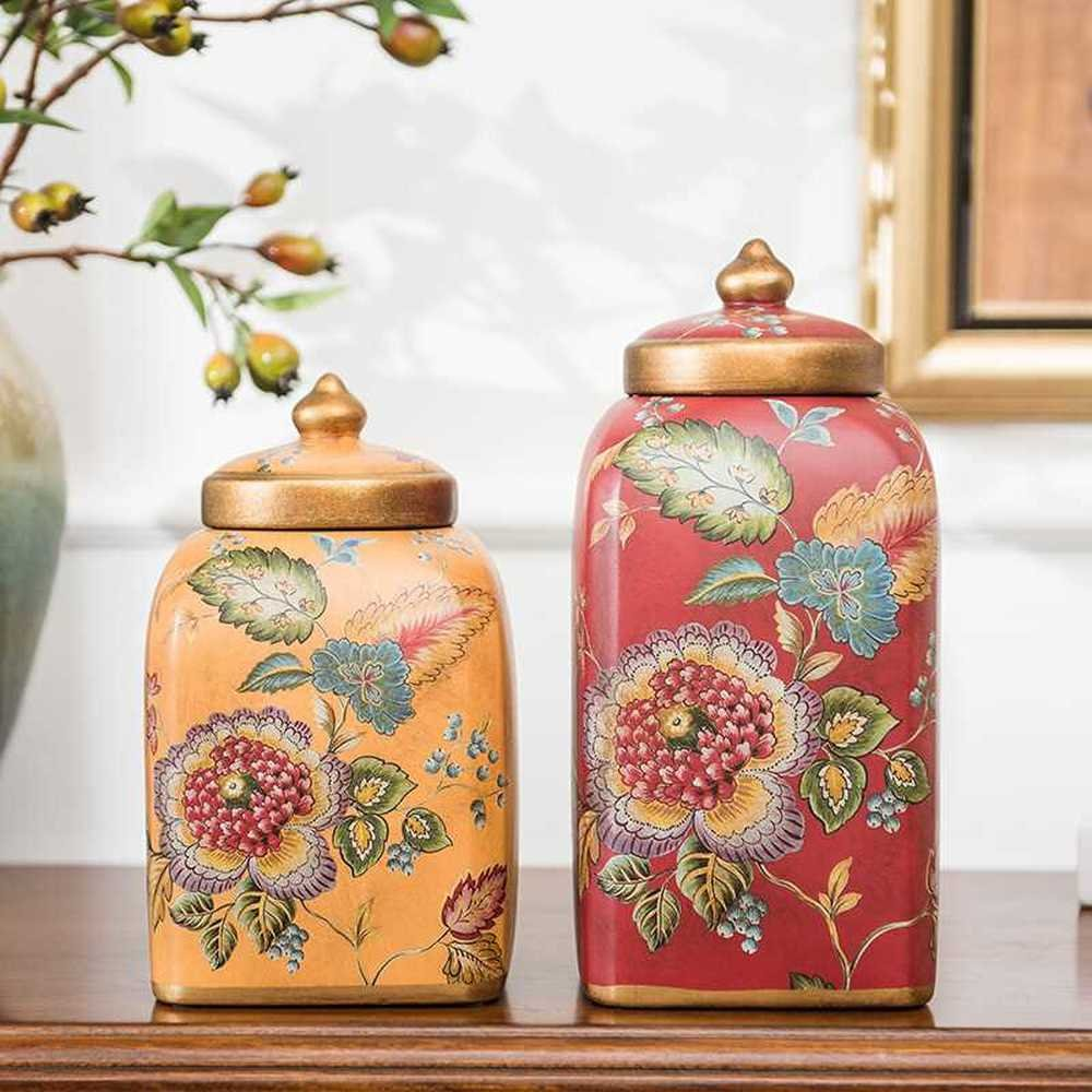 LXYFMS Porcelain Home Interior Ceramic Desktop Display Retro Storage Tank and Gateway for Two Sets of Equipment Crafts (Color : 2 pcs)