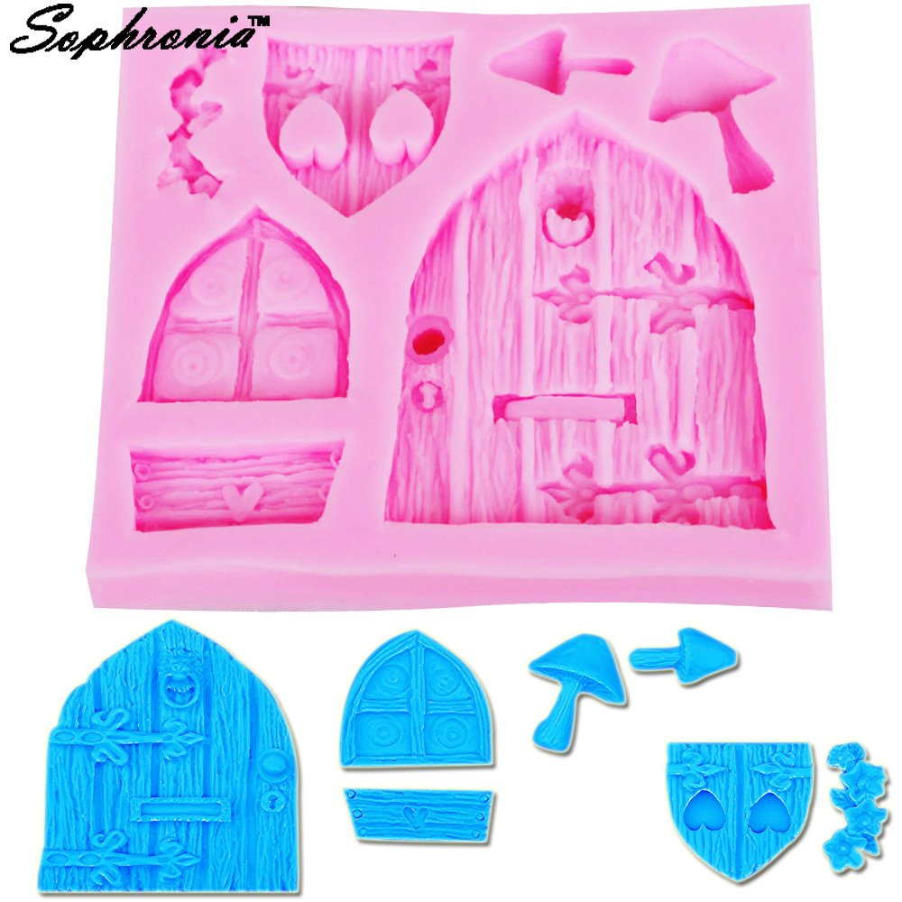 Star-Trade-Inc - M302 Wooden Window Door Shaping 3D Molds Silicone Mold Candle Molds Sugar Craft Tools Chocolate Molds Bakeware