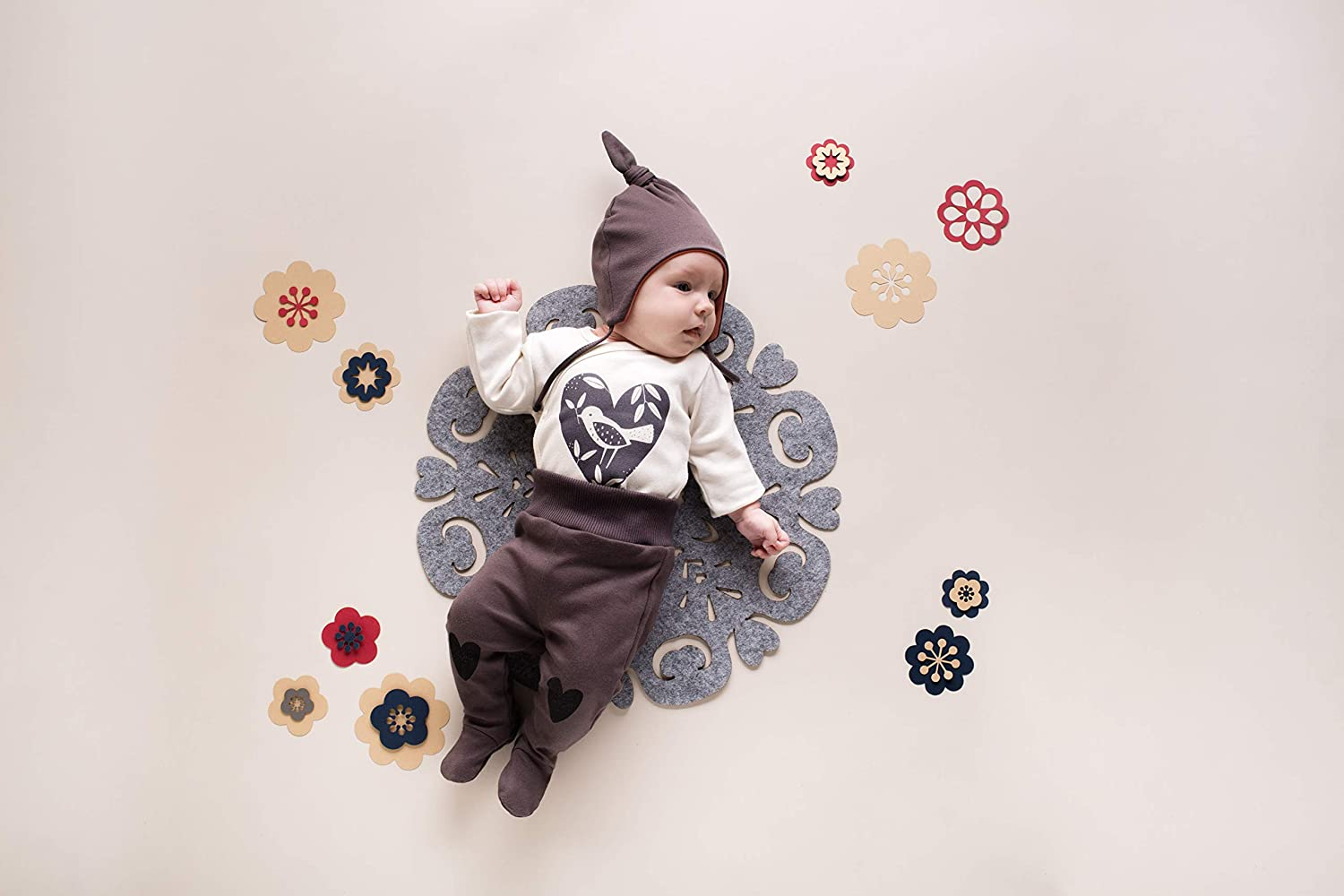 Pinokio Sleep Pants Baby Girls Pants//Trousers with Feet Romper 100/% Cotton Brown Red Pink with Heart 56 62 68 74 cm Little Bird