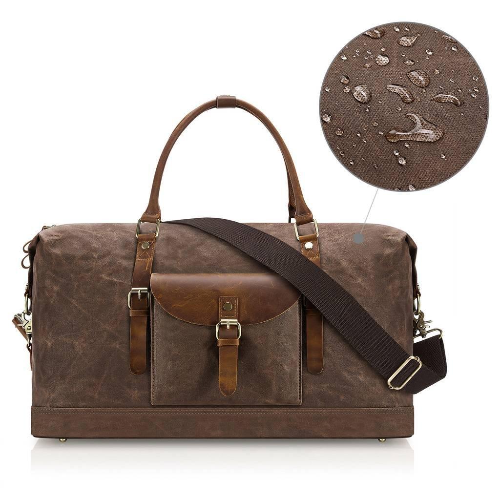 Plambag Oversized Duffel Bag, Waterproof Canvas Leather Trim Overnight Luggage Bag(Coffee) by Plambag (Image #7)