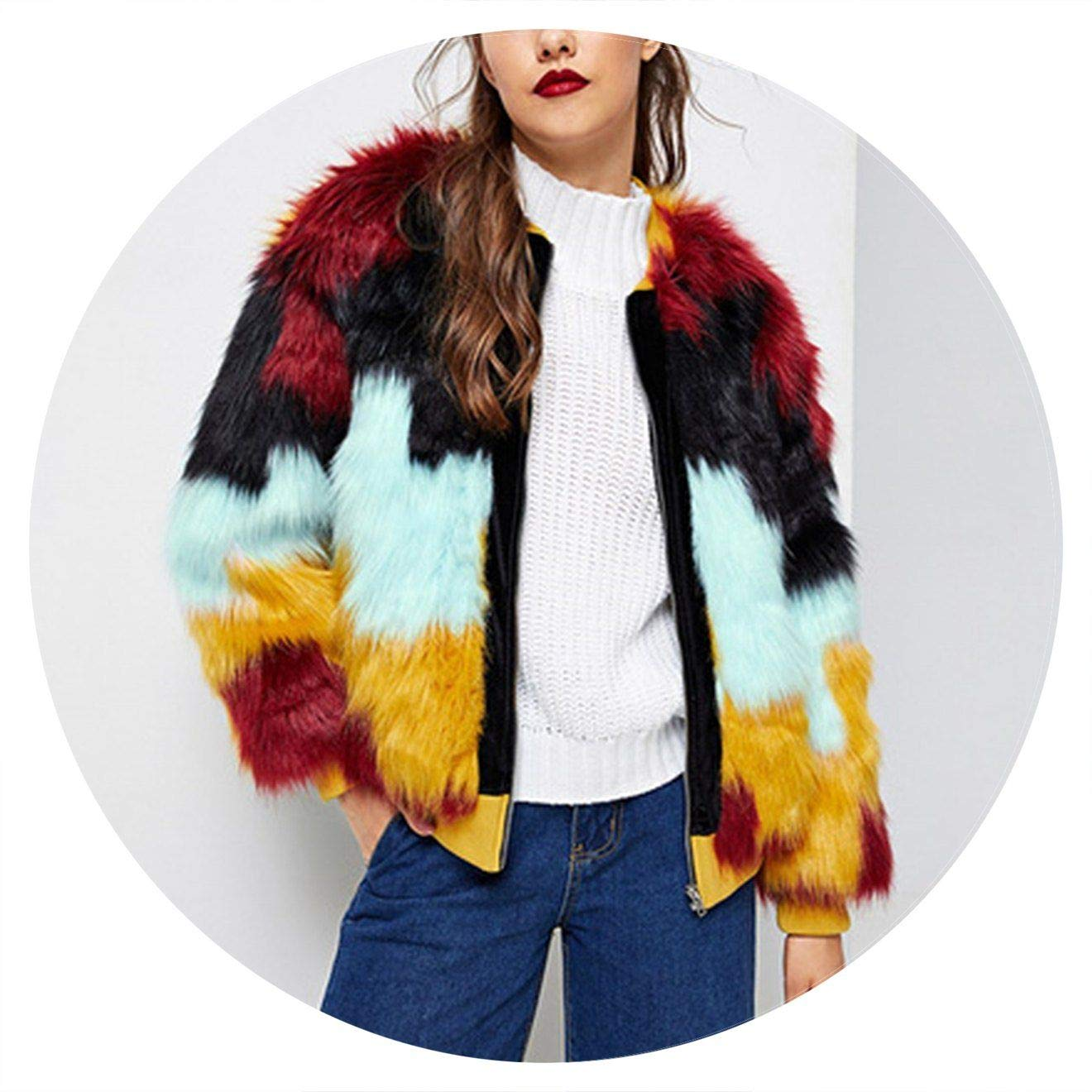 Multi Jifnhtrs colorblock Cut and Sew Faux Fur Coat Women Coats and Outerwear