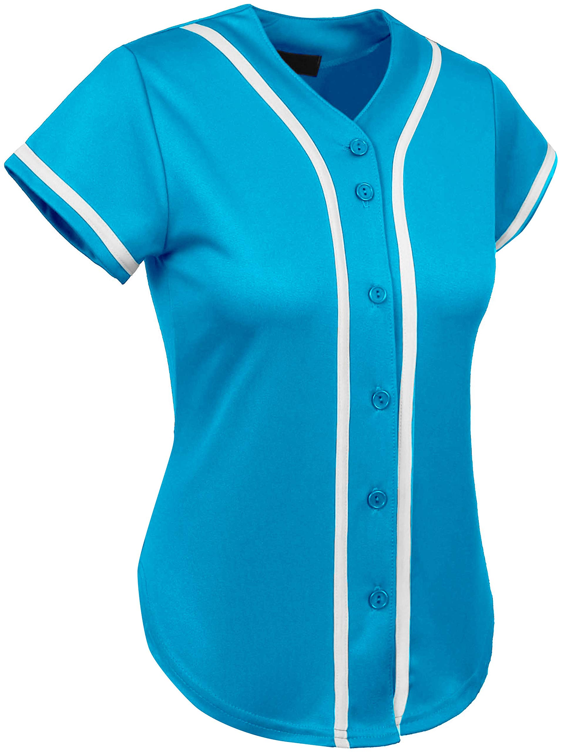 Ma Croix Womens Premium Baseball Jersey Active Button Shirt Team Uniform (2X-Large, 3up01_Turquoise/White) by Ma Croix