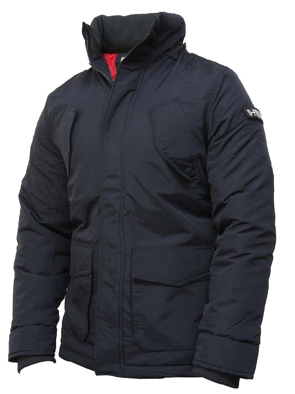 Men's Black And Navy D-Project Left Arm logo flying Jacket Parka Coat