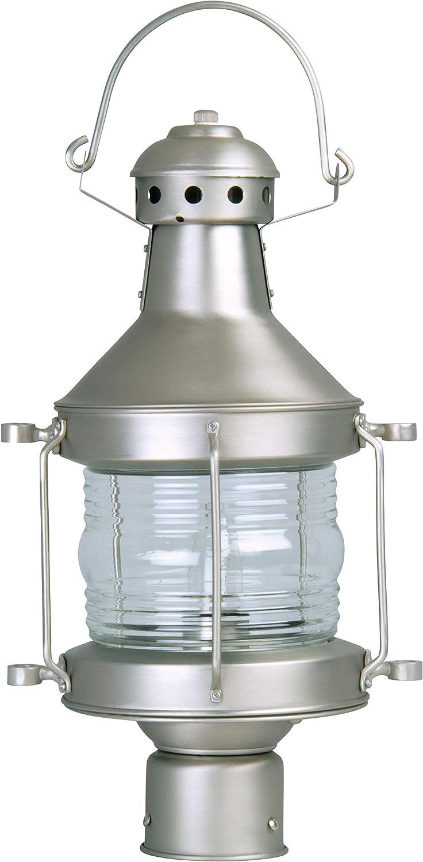 "Craftmade Z115-BN Nautical Outdoor Pier Mount Post Lighting, 1-Light 100 Watt (9"" W x 17"" H), Brushed Satin Nickel"