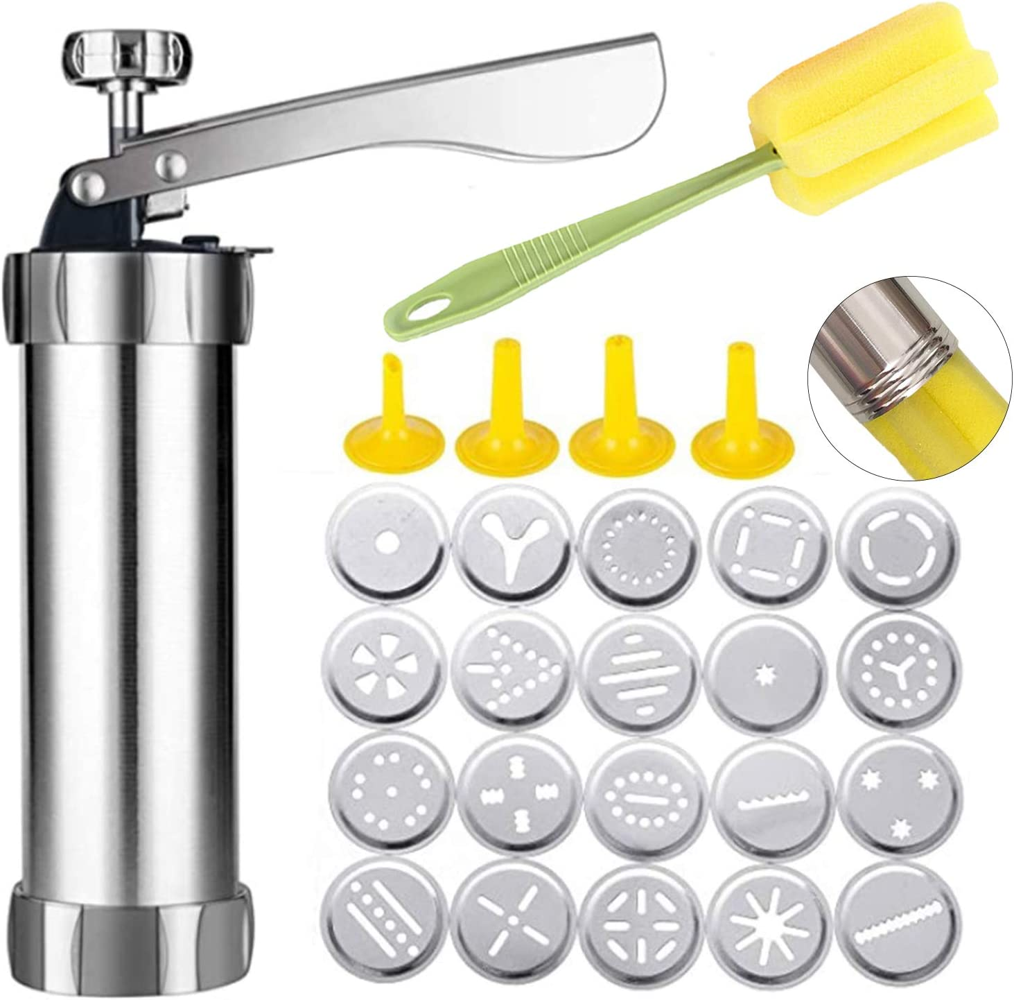 Spritz Cookie Press Gun Kit, Stainless Steel Biscuit Press Cookie Gun Set with 20 Cookie discs and 4 nozzles for DIY Biscuit Maker and Churro Maker - Silver