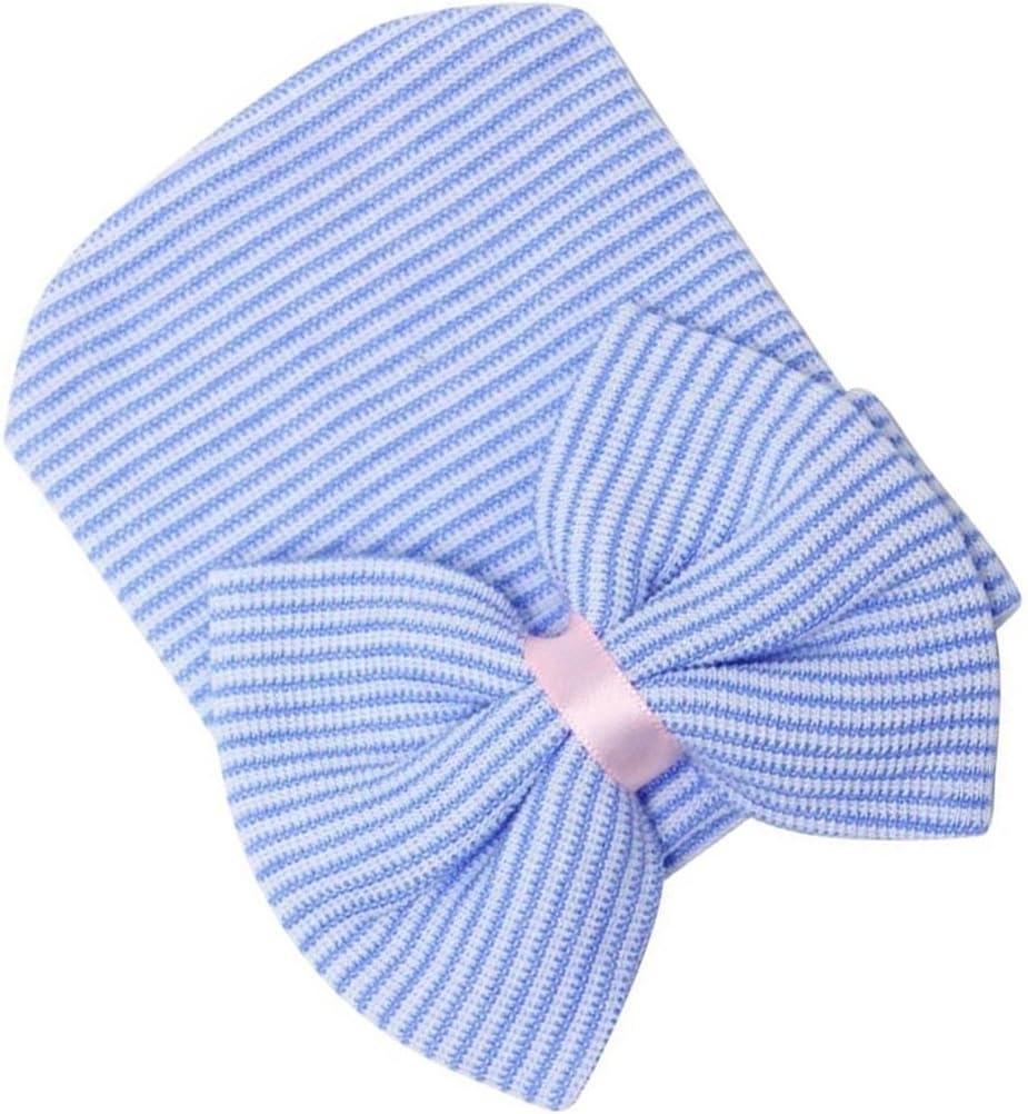 Bonnet Pour B/éb/é Fille Nouveau-n/é Chapeau Noeud Papillon /à Rayures Bleu