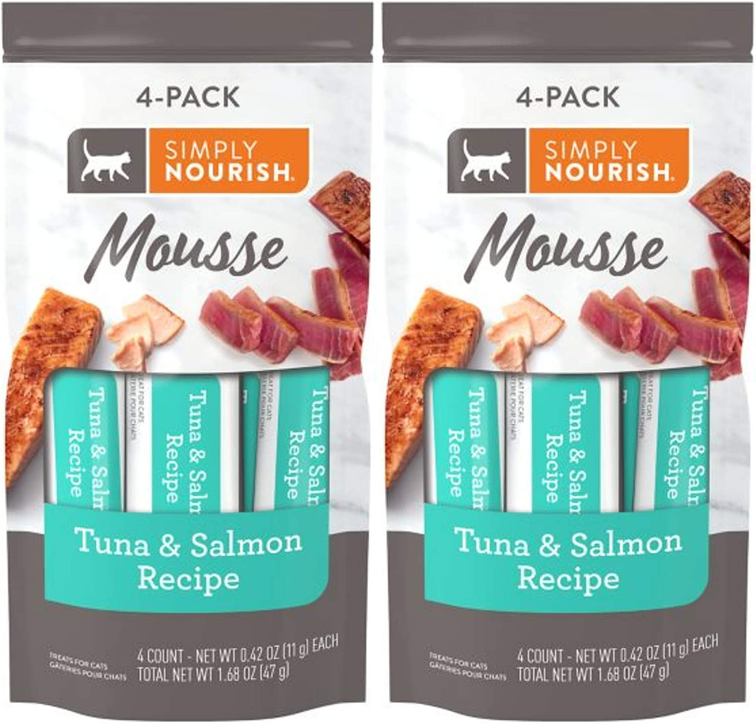 SIMPLY NOURISH Mousse Cat Treat Tuna and Salmon - 2 Pack