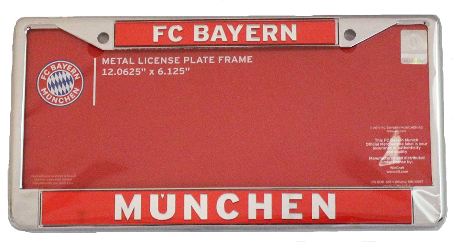 red Wincraft FC Bayern Munich Premium License Plate Frame Metal with Inlaid Acrylic