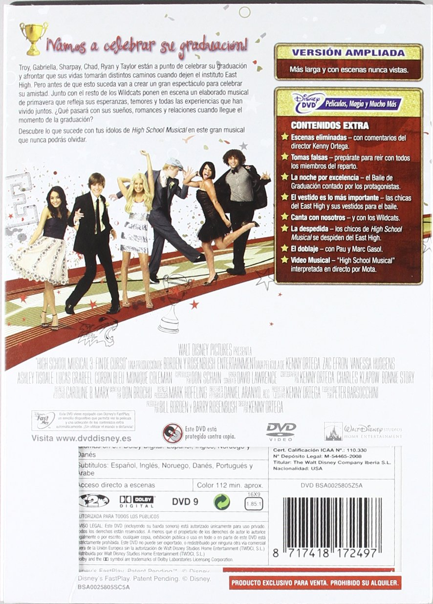 High School Musical 3 - Fin De Curso Edición Ampliada DVD: Amazon.es: Zac Efron, Ashley Tisdale, Vanessa Anne Hudgens, Selena Gomez, Lucas Grabeel, ...
