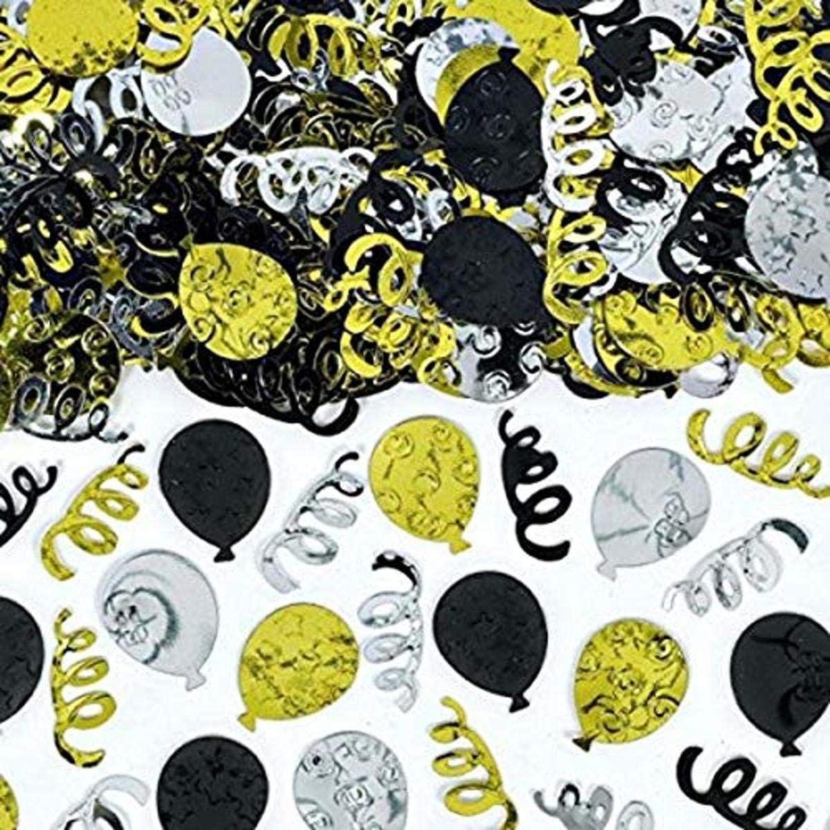amscan Party Balloons Black Party Decor Silver and Gold Confetti 12 Ct.
