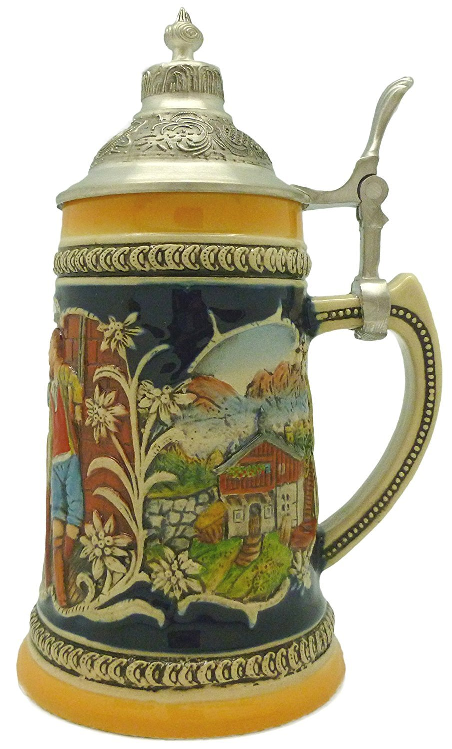 Engraved Beer Stein Alpine Pub Metal Lid Essence of Europe Gifts S4023