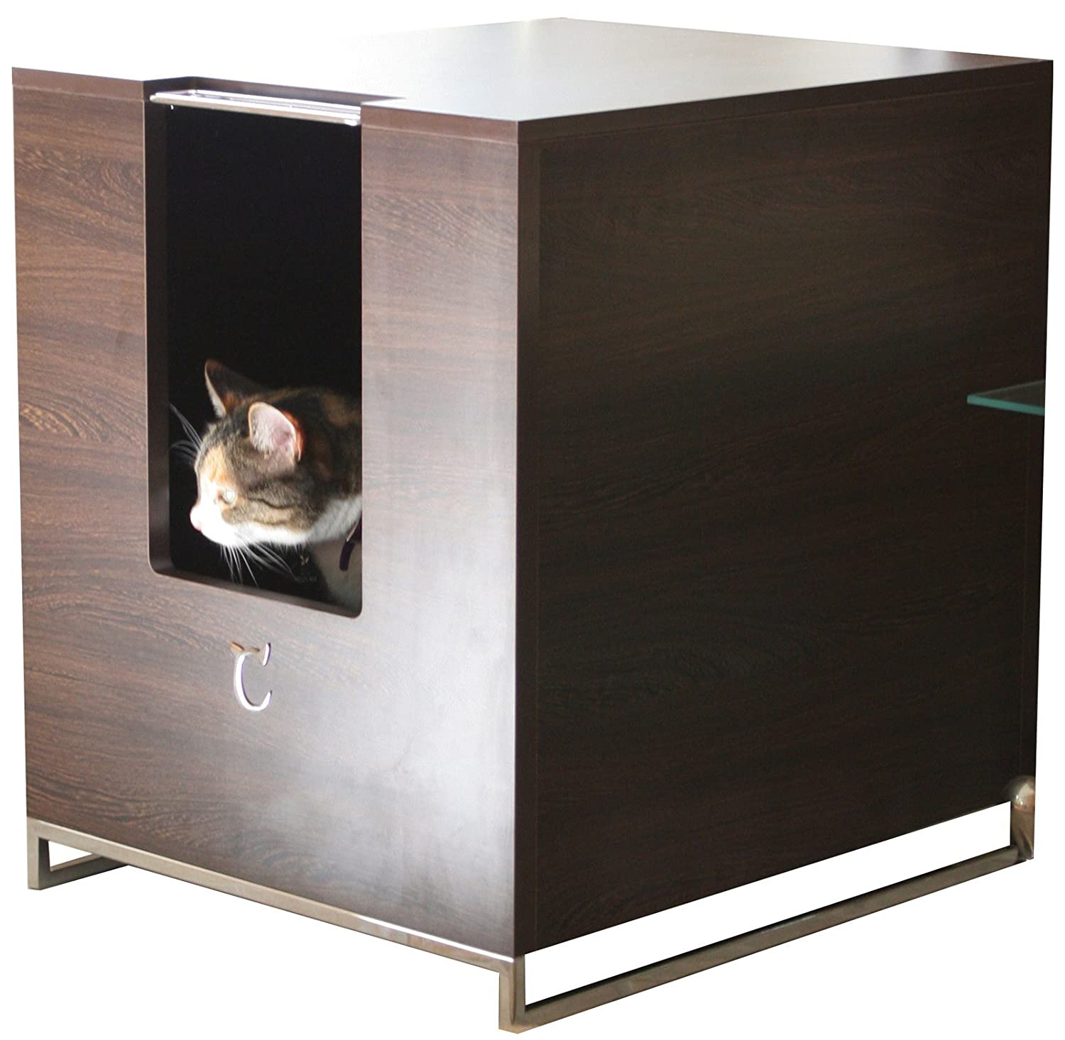 amazoncom  modern cat designs litter box hider  brown  cat  - amazoncom  modern cat designs litter box hider  brown  cat houses andcondos  pet supplies