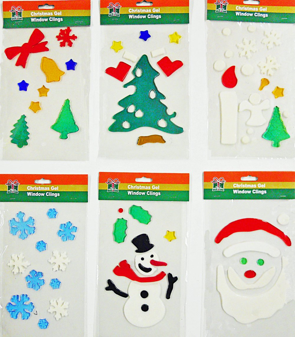 Amazon com christmas window clings 6pk of holiday gel art home kitchen