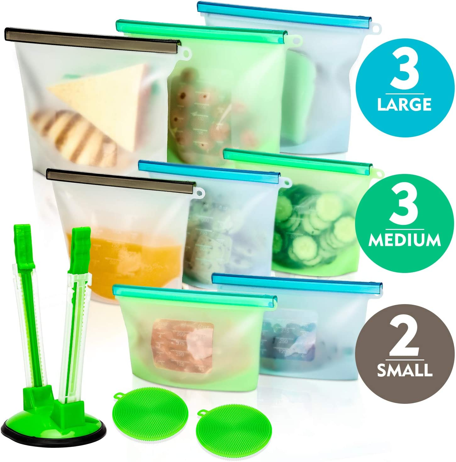 Silicone Bags Reusable Silicone Food Bag (8 Pack) Airtight Seal Food Preservation Bag/Food Grade/Versatile Silicone bags for Vegetable, Liquid, Snack, Meat, Sandwich