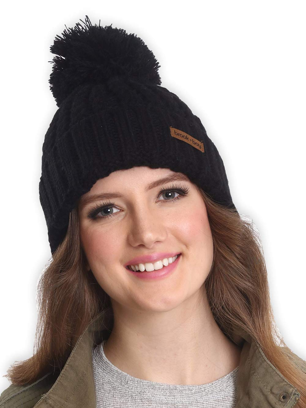 Amazon.com  Brook + Bay Pom Pom Beanie - Stay Warm   Stylish - Thick ... 6f82babb4da