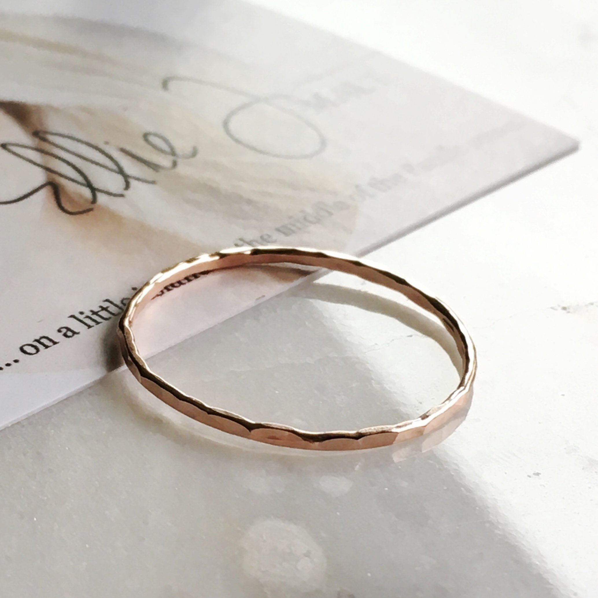 Stacking Ring 14k Rose Gold Filled, Dainty Little Plain Band, Size 4