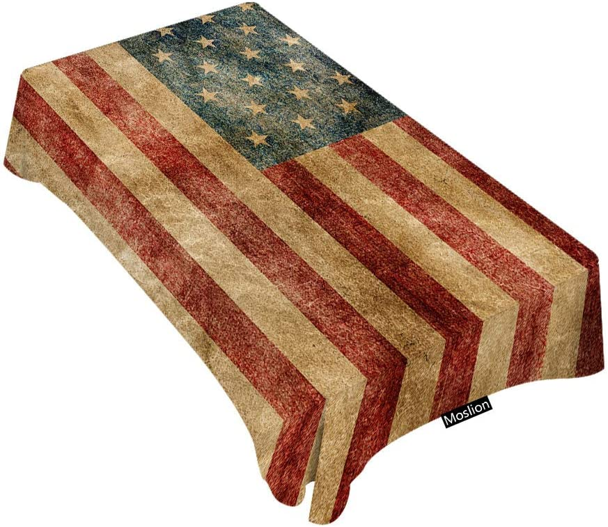 Retro Outdoor Picnic Tablecloth Worn Style American Flag Print 58 X 104 Inches