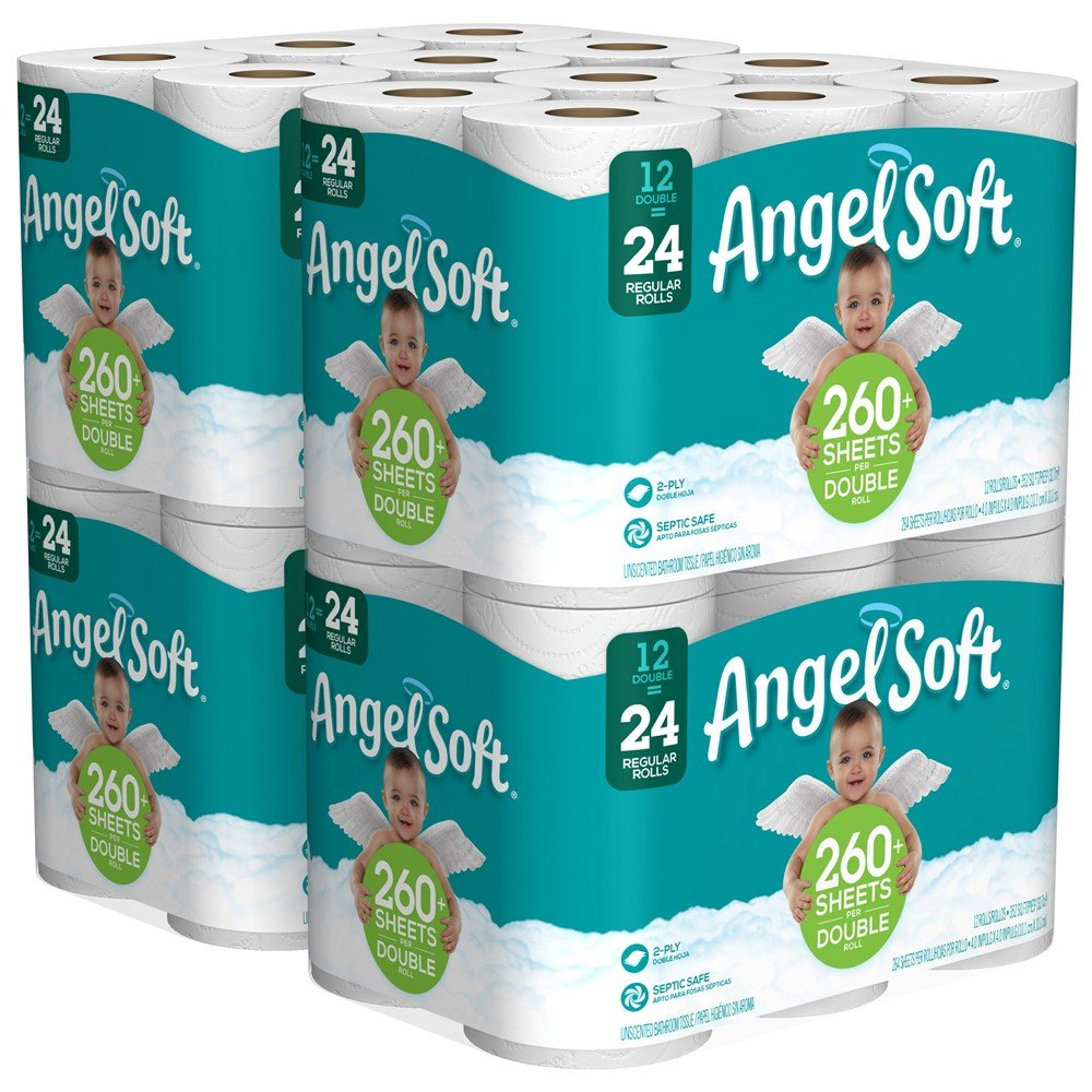 ANGEL SOFT Toilet Paper Bath Tissue, 48 Double Rolls, 260+ 2-Ply Sheets Per Roll by Angel Soft