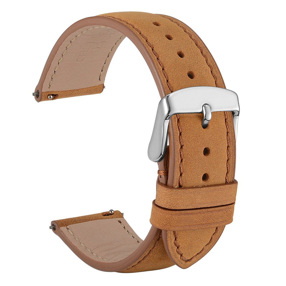 WOCCI 18mm Suede Vintage Leather Watch Band with Pins Buckle, Quick Release Strap (Light Brown with Tone on Tone Seam)