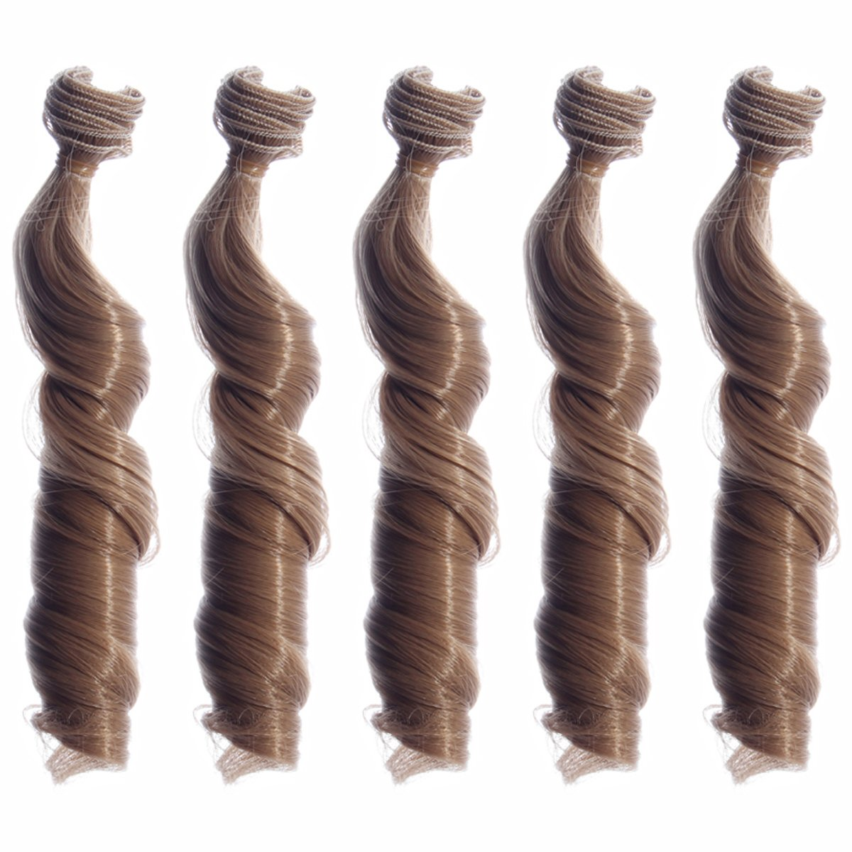 5pcs/lot,New Arrival 5.9039.37''Heat Resistant Spiral Curly Synthetic Hair Weft for Handcraft DIY Doll Wig