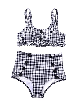 3727836d68 Amazon.com  Womens High Waisted Bathing Suit Plaid Bikini Set Retro Two  Piece Swimsuit Button Pad Swimwear  Clothing