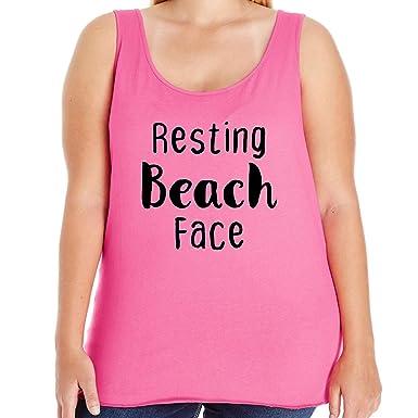 ffdc21f474 ZeroGravitee Resting Beach Face Womens Plus Size Tank Top in Hot Pink - 1X  (14