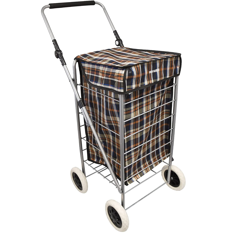 4 Wheel Shopping Trolley Caged Bag Folding Strong Durable Lightweight Steel Frame Case Fold Flat Tartan 95 x 54 x 54cm - Plain BLACK ASAB