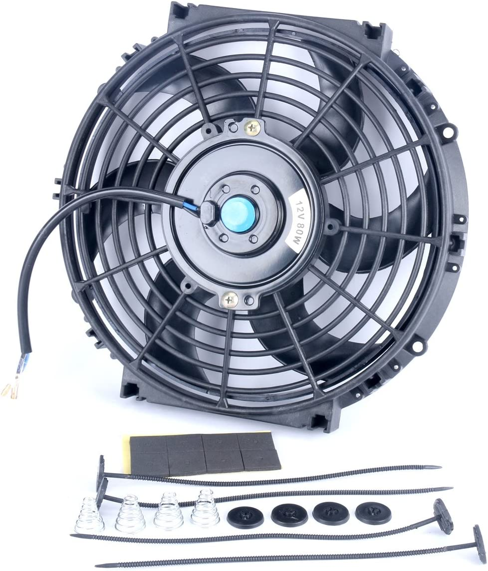 8milelake 12V 80W High Performance Black Slim Electric Cooling Radiator Fan with Fan Mounting Kit 7 inch