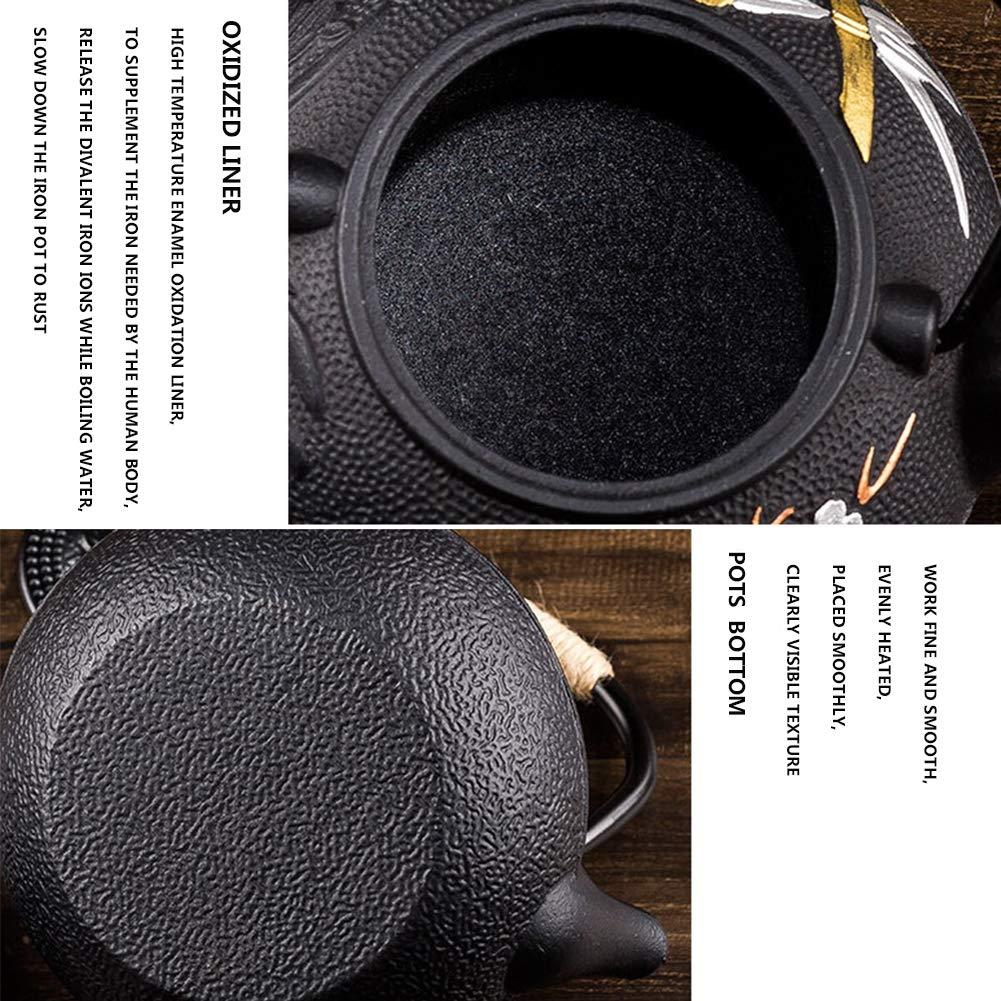 Contiene Desmontable Acero inoxidable Infusor Colador de t/é,300ML Estilo japones Negro Metal Arrabio Teteras 800ML Pintura de color Tetera De Hierro Fundido Juego de t/é Pared interior oxidada