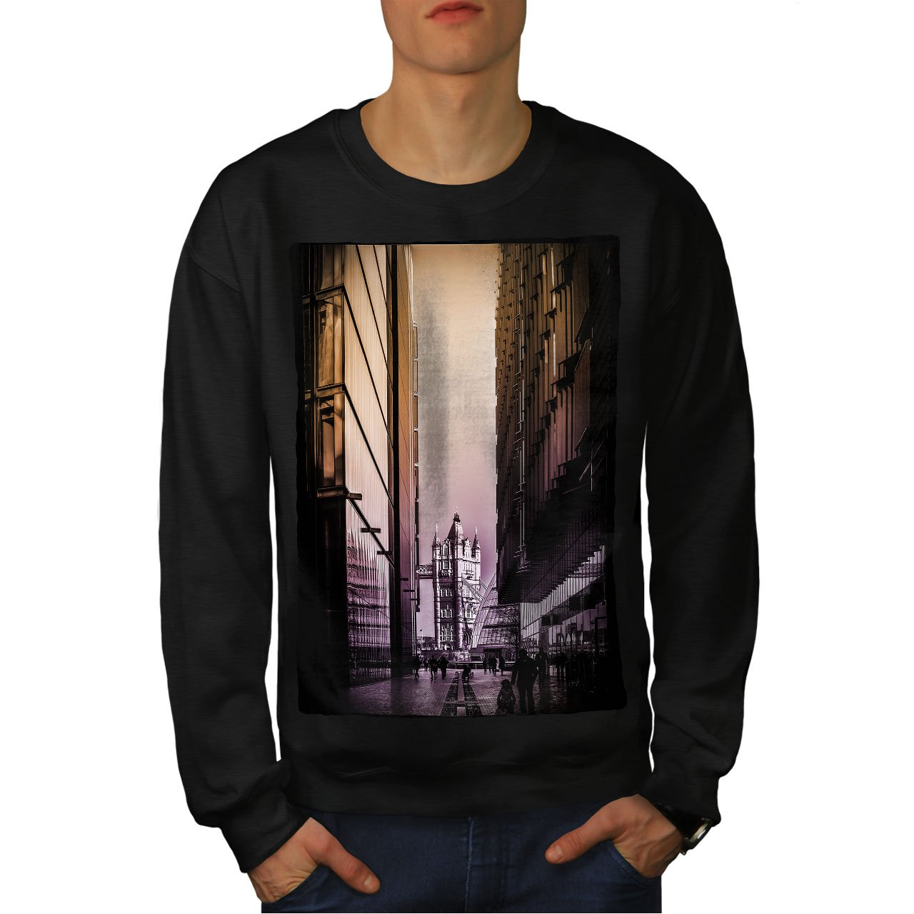 Furry Casual Jumper wellcoda Golden Bridge UK Mens Sweatshirt