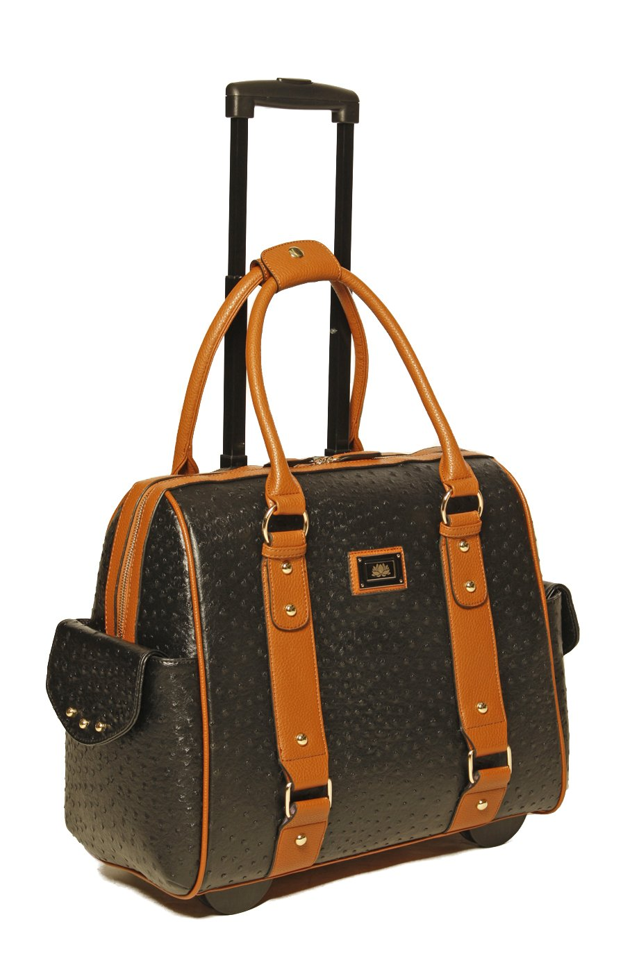 JKM & Company USA Black Ostrich & Brown Faux Leather iPad Tablet or Laptop Tote Carryall or Rolling Briefcase