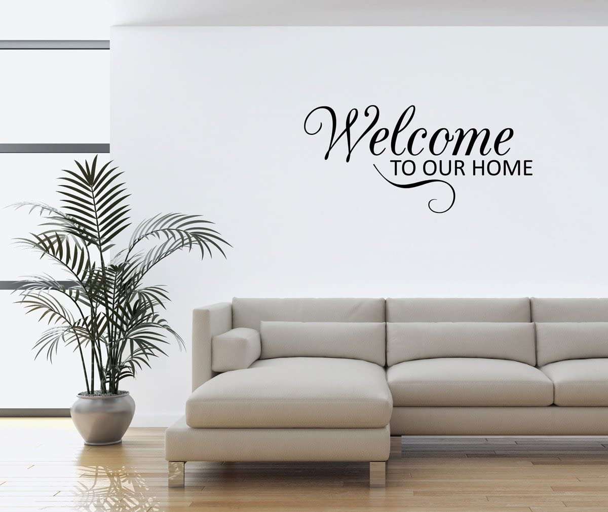Wall Decal Quote Welcome To Our Home Scroll Vinyl Wall Window Decal Sticker Home Decor Home Kitchen Amazon Com