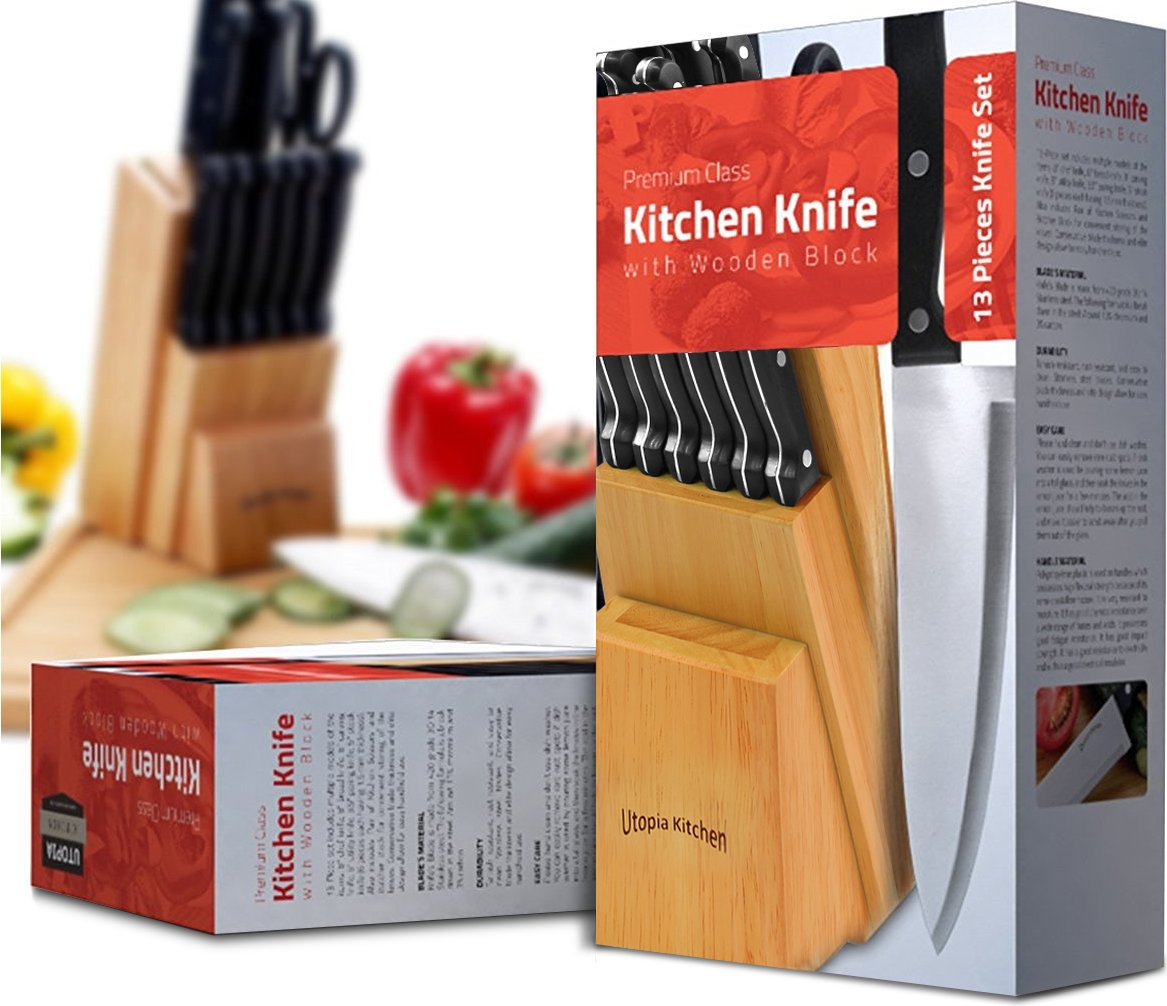 Knife Set with Wooden Block 13 Piece - Chef Knife, Bread Knife, Carving Knife, Utility Knife, Paring Knife, Steak Knife, and Scissors by Utopia Kitchen (Image #2)