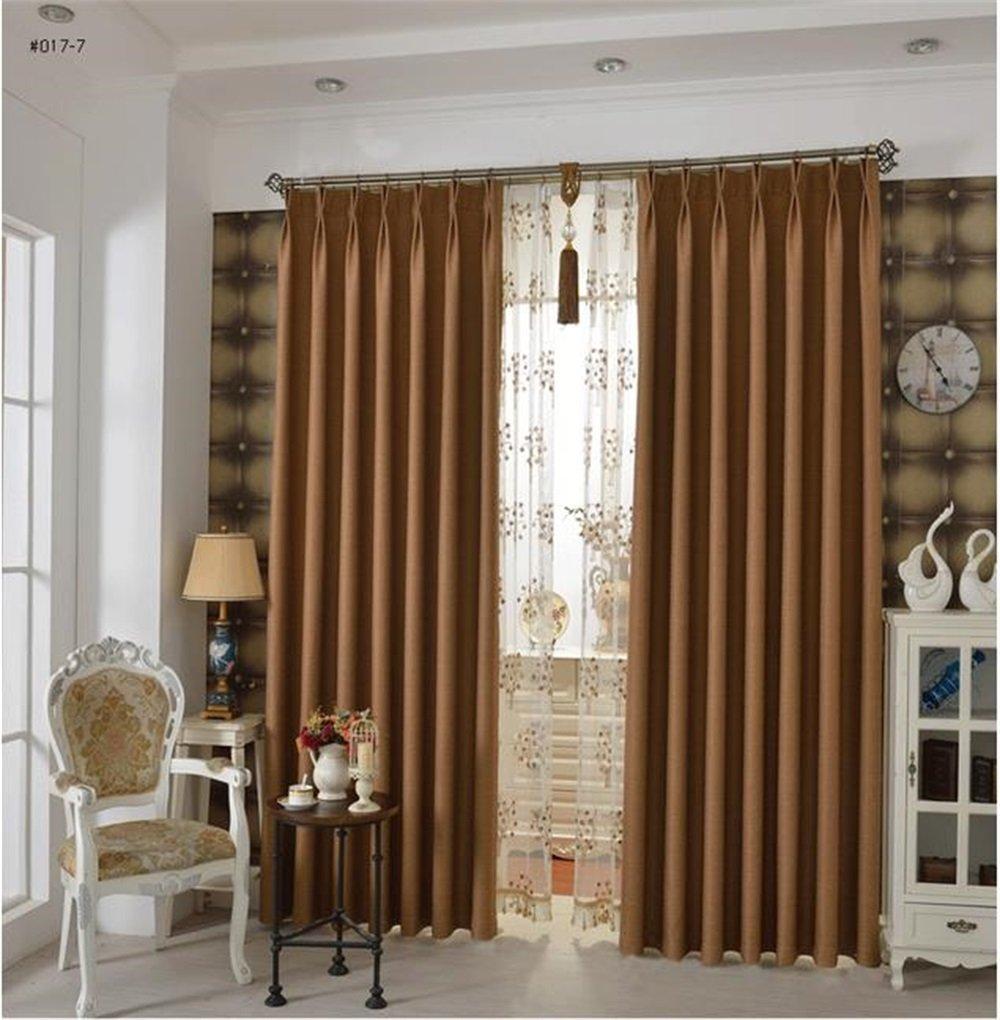 HOME UK- Ein Satz von 2 Pcs Voll Schattierung Moderne Einfachheit verdicken Wohnzimmer Schlafzimmer fertig Produktvorhang Stoff Twill Leinen Baumwolle ( größe : 3*2.7m (width*height) )