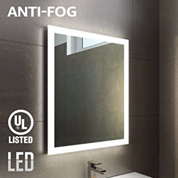 Superbe Fogless LED Lighted Makeup Mirror With Backlit Strip, UL Listed, Wall  Mounted Vanity