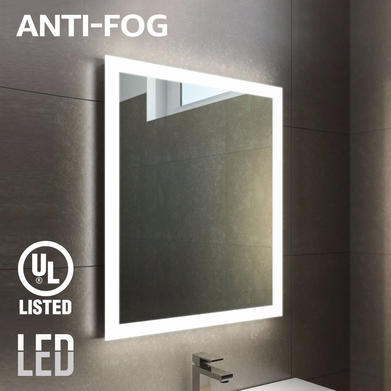 "Fogless LED Lighted Makeup Mirror with Backlit Strip, UL-listed, Wall Mounted Vanity Silver Mirror for Bathroom, SPA, Shower, Polished Edge, 32"" × 24"", Exterior Rectangle Ring"