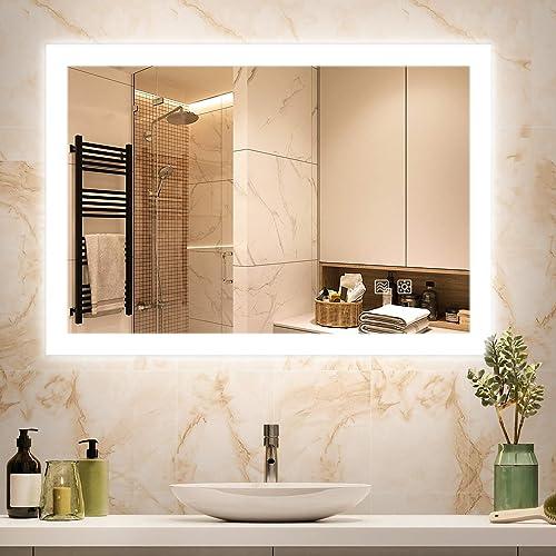 Dutsekk 36x28 Inch LED Bathroom Mirror Backlit Anti-Fog Dimmable IP44 Waterproof