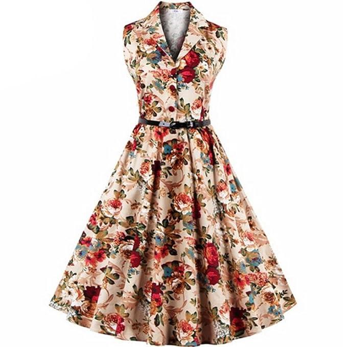Vestidos Mujer Verano 2018,Las mujeres más el tamaño floral de impresión Vintage vestido sin mangas fiesta de baile Swing Vestido LMMVP (Amarillo, XXXL): ...