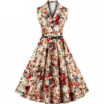 Vestidos Mujer Verano 2018,Las mujeres más el tamaño floral de impresión Vintage vestido sin mangas fiesta de baile Swing Vestido LMMVP (Amarillo, ...