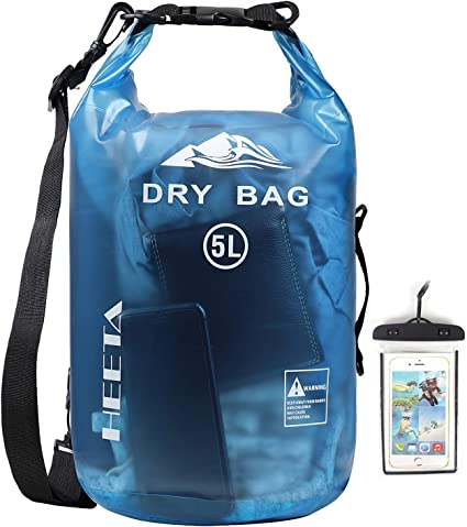 HEETA Waterproof Dry Bag for Women Men, 5L/ 10L/ 20L/ 30L/ 40L Roll Top Lightweight Dry Storage Bag Backpack with Phone Case for Travel, Swimming, Boating, Kayaking, Camping and Beach