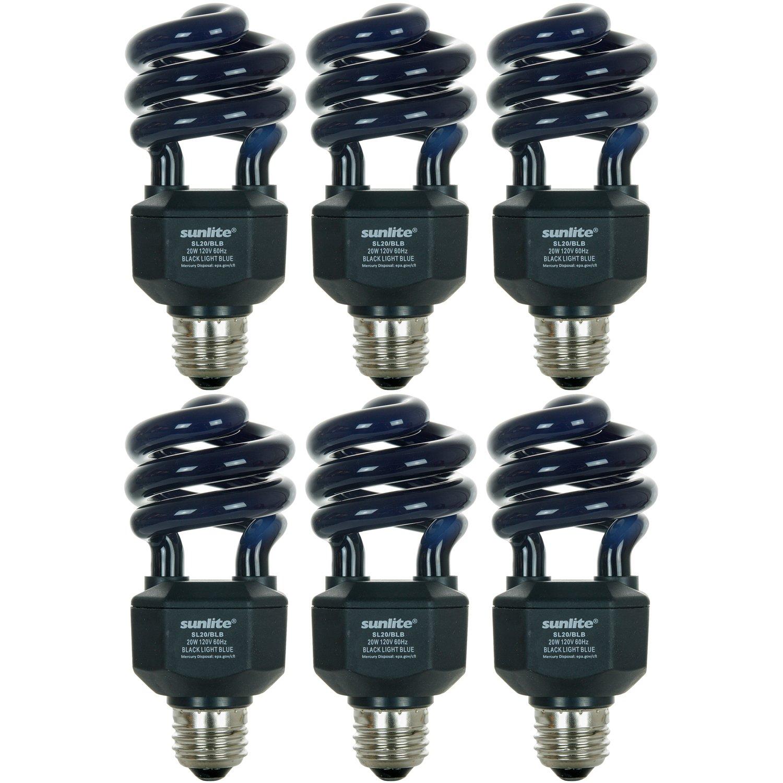 Sunlite SL20/BLB/6PK 20W Spiral Energy Saving CFL Light Bulb Medium Base (6 Pack), Blacklight Blue Sunshine Lighting